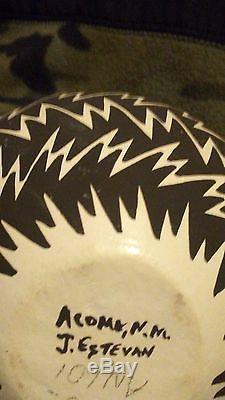 Native American Jennifer Estevan Acoma Lightning Bolt Pottery 4 1/2 4 1/2