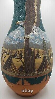 Native American Lakota Pottery Richard Underbaggage Hand Painted Vase