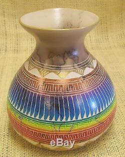 Native American Made Etched Pottery by Hilda Whitegoat End of the Trail Vase