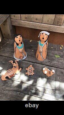 Native American Nativity Storyteller Pottery Doll Set By Jemez Pueblo Artist