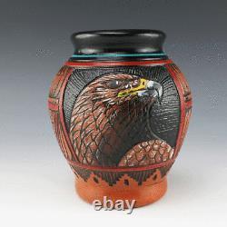 Native American Navajo Eagle Pottery Vase By Arnold Brown Navajo