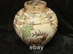 Native American Navajo Handmade Horse Hair Etched Pottery Elk Trees