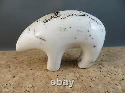 Native American Navajo Indian Horse Hair Ceramic Pottery Bear Fetish Figurine