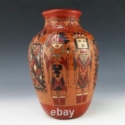 Native American Navajo Pottery Vase By Irene & Ken White