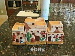 Native American Navajo Pueblo Southwestern House Ceramic Pottery Canisters