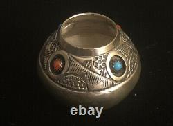 Native American Navajo Sterling Silver Miniature Seed Pot by Wesley Whitman