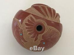 Native American Pojoaque Pueblo Sgraffito Seed Pot Redware by Puuya Pin 8 1/2 D