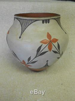 Native American Pottery Acoma Polychrome Pottery Vase Zia Pueblo Large Floral