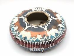 Native American Pottery Bear Horsehair Handmade Navajo Indian Artist Signed