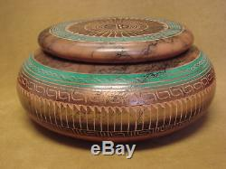 Native American Pottery Etched Painted Horse Hair Trinket Pot! Navajo