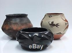 Native American Pottery, Feathered Snake Pot, Hopi Cooking Bowl, Zia Pueblo
