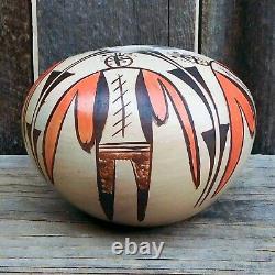 Native American Pottery-HOPI Hand Coiled Moth Design Pot-Adelle Nampeyo