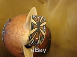 Native American Pottery Hand Painted Lizard Wedding Vase by Cellicion, Zuni Pueb