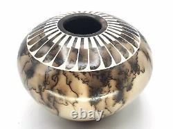 Native American Pottery Horse Hair Handmade Acoma Indian Vase Gary Louis