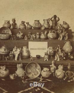 Native American Pottery, Santa Fe, New Mexico. Vintage Original Stereoview