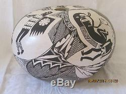 Native American Pottery Seed Pot B. J. CERNO 1979 Acoma, New Mexico Signed
