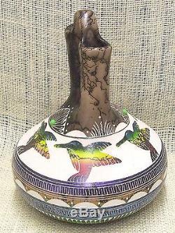 Native American Pottery by Hilda Whitegoat Hand Etched Hummingbird Wedding Vase