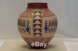 Native American Pueblo Hopi Pottery Signed Pete Sumatzkuku 21 Kachinas Rare