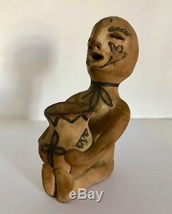 Native American Pueblo Tesuque NM Rain God Pottery Pot Figure Statue 1895 -1910