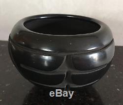 Native American Santa Clara Carved Blackware Pot by Reycita Cosen