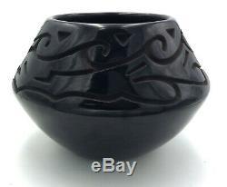 Native American Santa Clara Deeply Carved Avanyu Pot by Chris Martinez