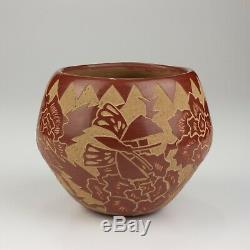 Native American Santa Clara Pottery Red Sgraffito Pot, Gwen Tafoya