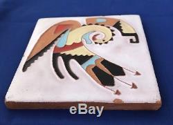 Native American Santa Clara Pueblo Artist Pablita Velarde Clay Tile 6x6x1/2