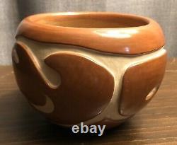 Native American Santa Clara Pueblo Carved Red Vase Mary Cain