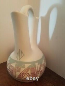 Native American Signed Jones Navajo Pottery 14 Wedding Vase Mesa Verde Large
