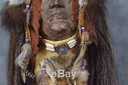 Native American Wall Art-Authentic INDIAN HEADDRESS with Original Animal Furs