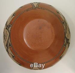 Native American Zia Pueblo Bowl with ROADRUNNER motif by Elizabeth Medina