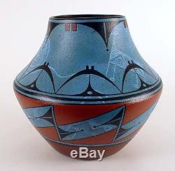 Native American Zia Pueblo Hand Coiled Pottery Large Pot 9 3/8H Ralph Aragon
