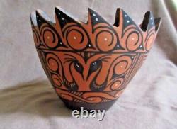 Native American Zuni hand coiled Water bird Pottery Pot by Darla Westika P209