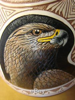 Navajo Indian Pottery Hand Etched Eagle Vase by Arnold Brown