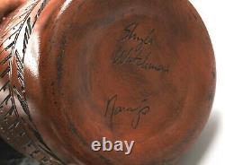 Navajo Native American Indian Pottery Huge Vase Signed Buffalo, Eagle 18 T