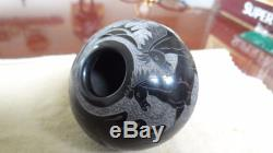Nice Gloria Garcia Goldenrod Santa Clara Pueblo Pottery Pot Vase With Horses
