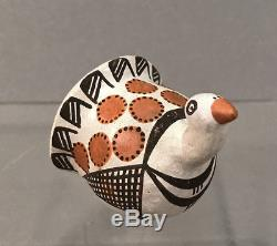 Nice signed Lucy Lewis Acoma pottery miniature turkey Native American Indian Art