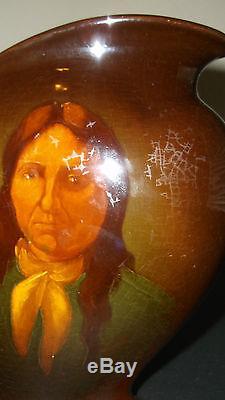 Old Vintage Circa 1905 Roseville Rozane Ware Indian Pottery Vase Native American