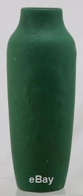 OWENS 12 VASE WithEMBOSSED NATIVE AMERICAN INDIAN MATTE GREEN LEATHERY GLAZE MINT