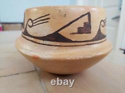 Old Hopi Native American Indian Pottery Hano Black Bowl Signed Cloud Clan Symbol