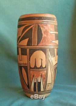Old Hopi Tall Cylinder Vase Antique Hopi Indian Pottery Vase Nampeyo family Pot