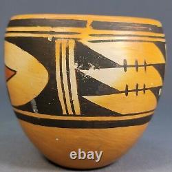 Old Native American Hopi Pueblo Polychrome Pot Pottery 3 1/2 x 3 3/4