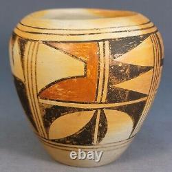 Old Native American Hopi Pueblo Polychrome Pot Pottery 4 1/4 x 4