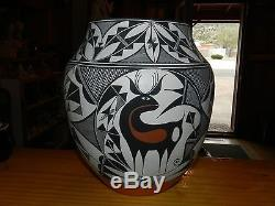 Outstanding Olderextra Large Gary/rachel Concho Hand Coiled Acoma Olla/free Ship