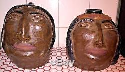 Pair 2001 Turkey Mountain Pottery GA Native American Indian Chief Head Jugs JET