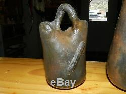 Pair Of Old Navajo Pine Pitch Wedding Vases, Wonderful/free Shipping
