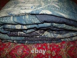 Pottery Barn SAGE EMBROIDERED Full/Queen Quilt BLUE, geometric shibori