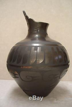 Pottery by Carmelita Dunlap, San Ildefonso Pueblo, Kiva Steps, Large, Black