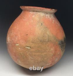 Pre-Historic Native American Salado Red Ware Pottery Round Bottom Jar Redware