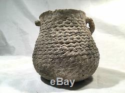 Pre-historic Native American Anasazi Corrugated Jar With 2 Handles